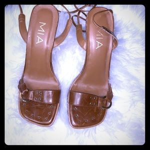 MIA Square Toe Lace Up Heels